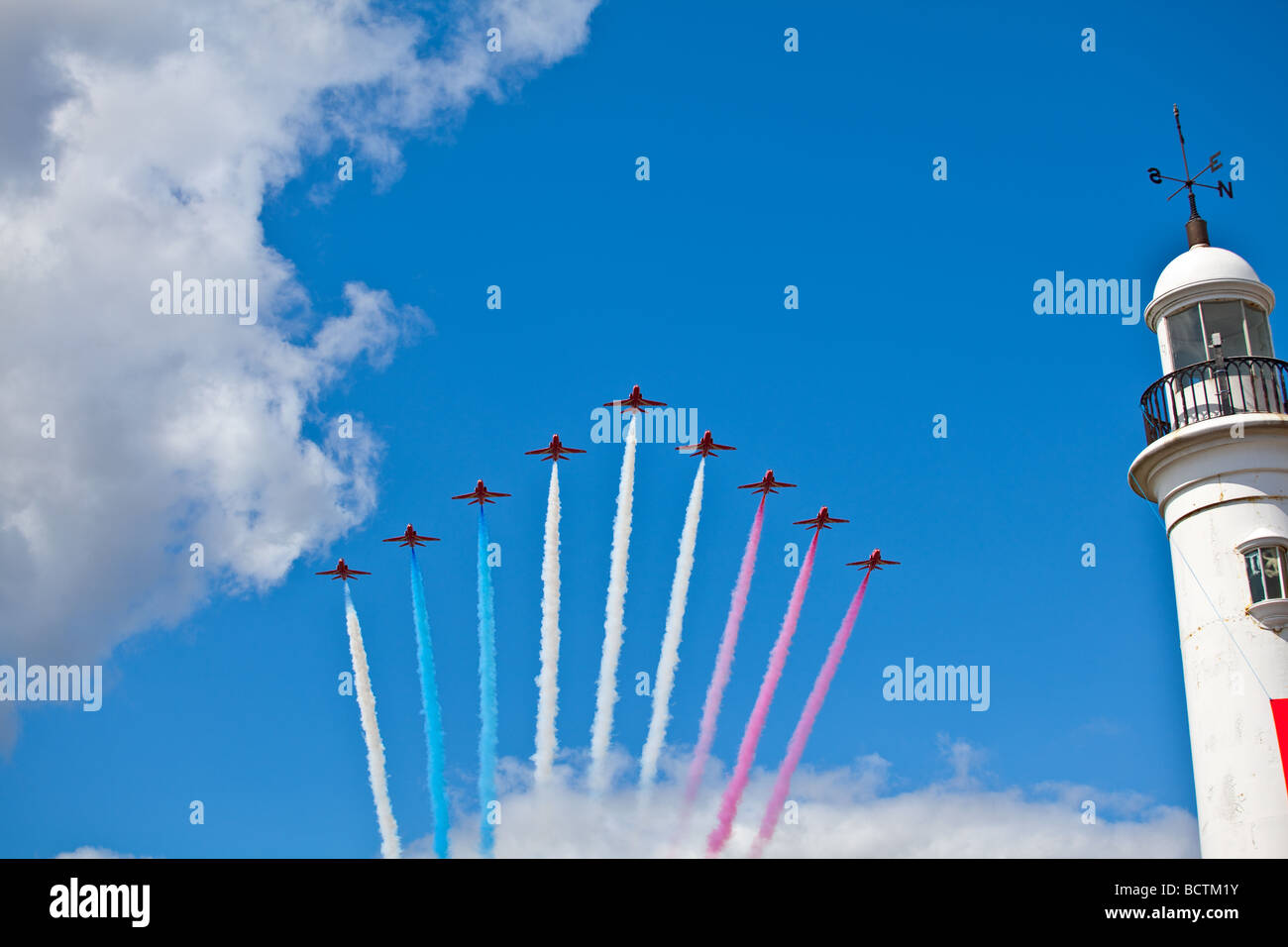 The royal air force red arrows performing at the Sunderland airshow - Stock Image