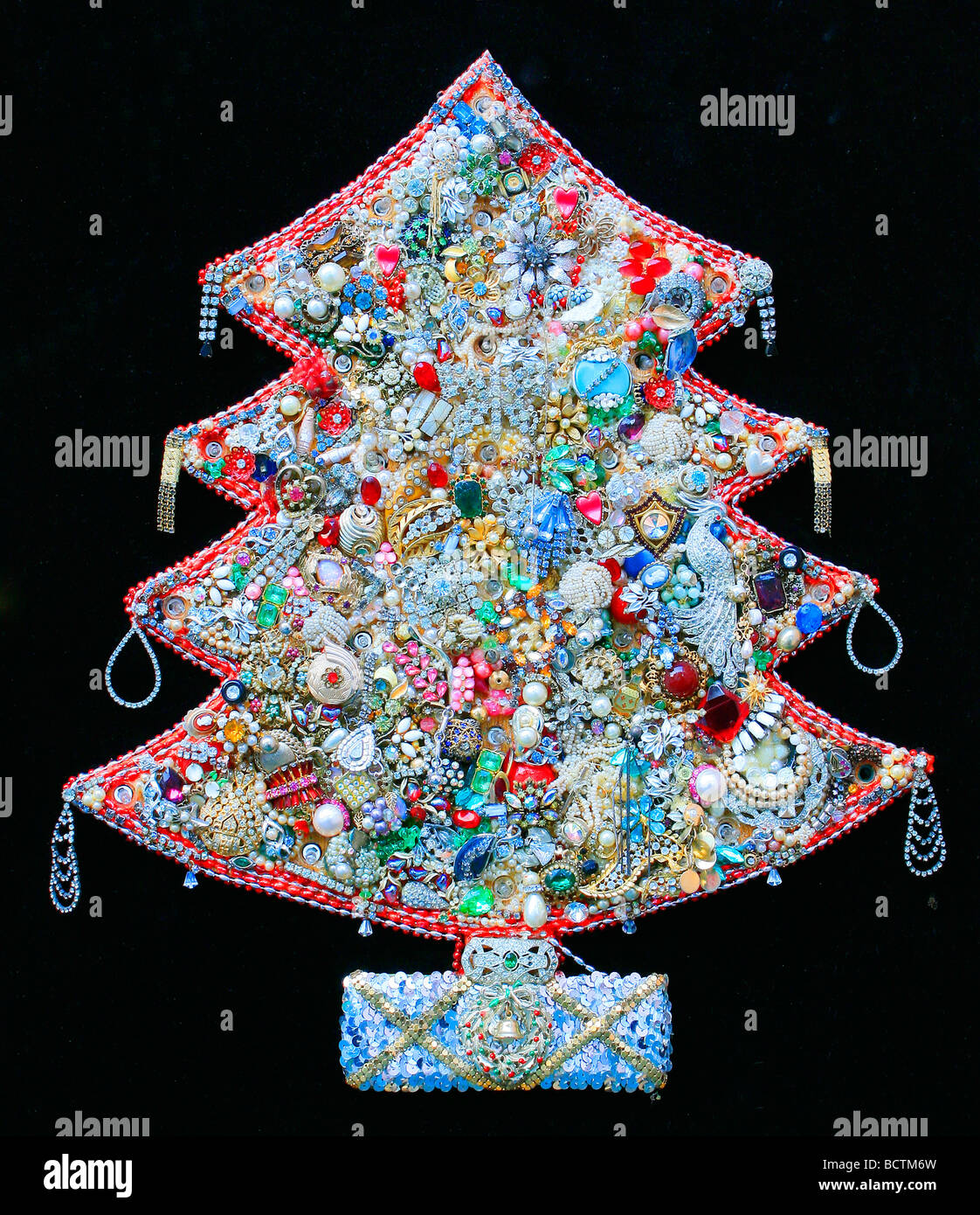 Dimensional Christmas Tree Made From Vintage Antique Jewelry Stock