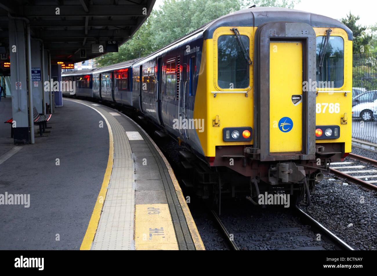 train on platform at belfast central station northern ireland uk Stock Photo