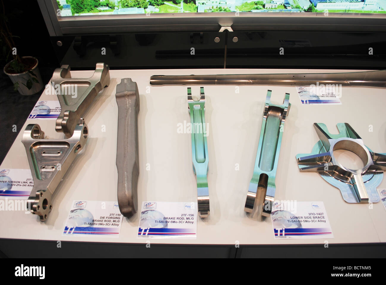 Aviation Quality alloy machined parts on display - Stock Image