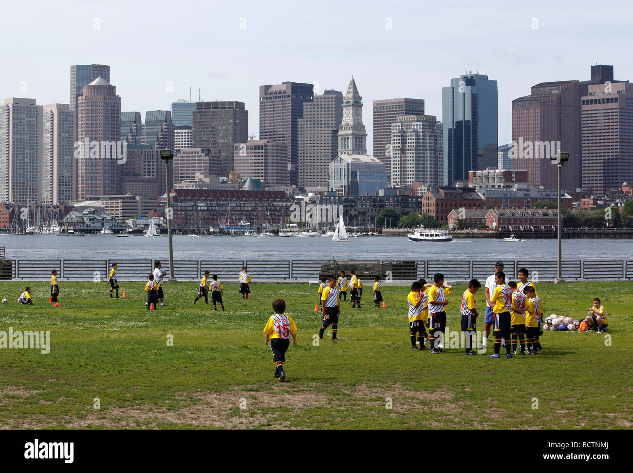 Children and soccer practice, LoPresti Park, East Boston - Stock Image