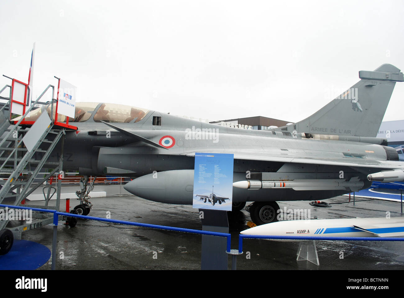 The Dassault Rafale B a French twin engined delta wing highly agile multi role fighter aircraft designed and built - Stock Image