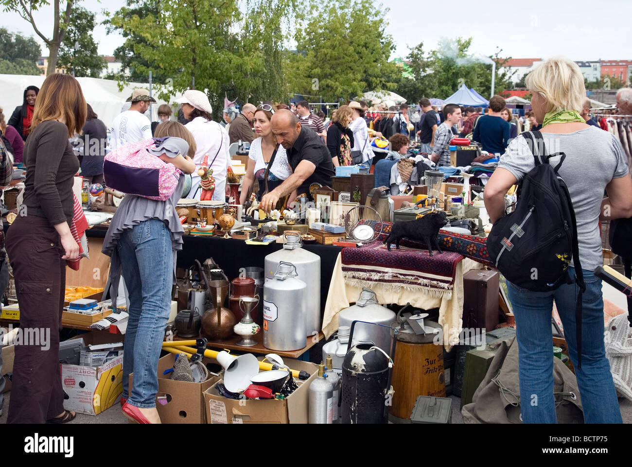 Flea Market at Mauerpark, Berlin, Germany Stock Photo