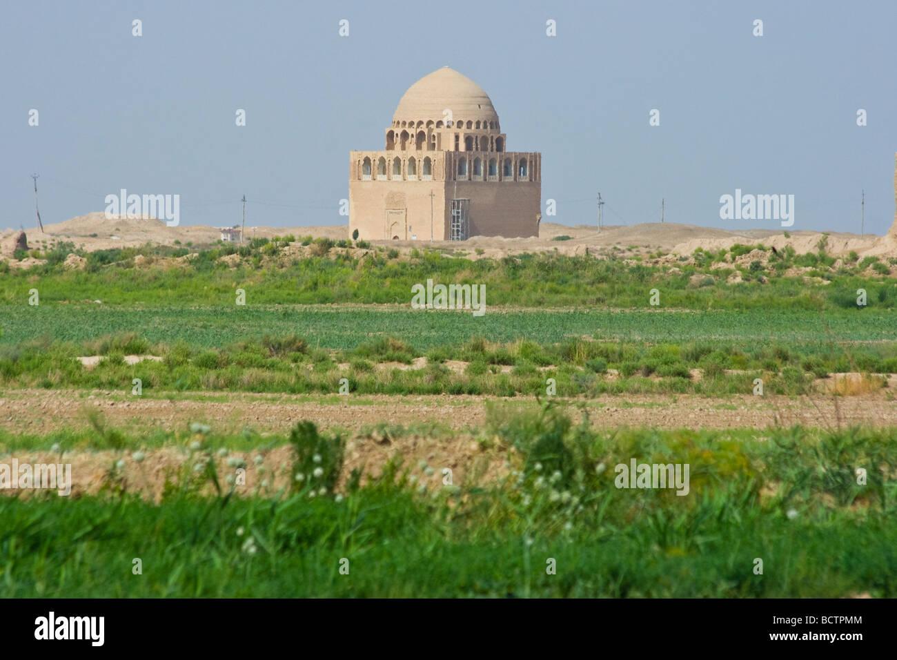 Mausoleum of Sultan Ahmad Sanjar in the Ruins of Merv in Turkmenistan Stock Photo