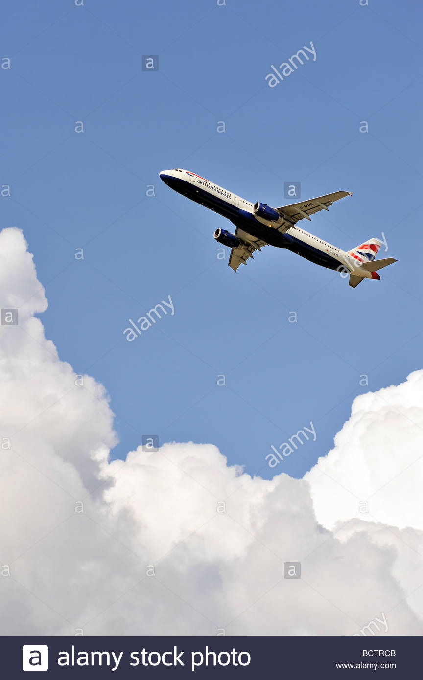 A British Airways Airbus A321 aircraft taking off from London's Heathrow Airport - Stock Image
