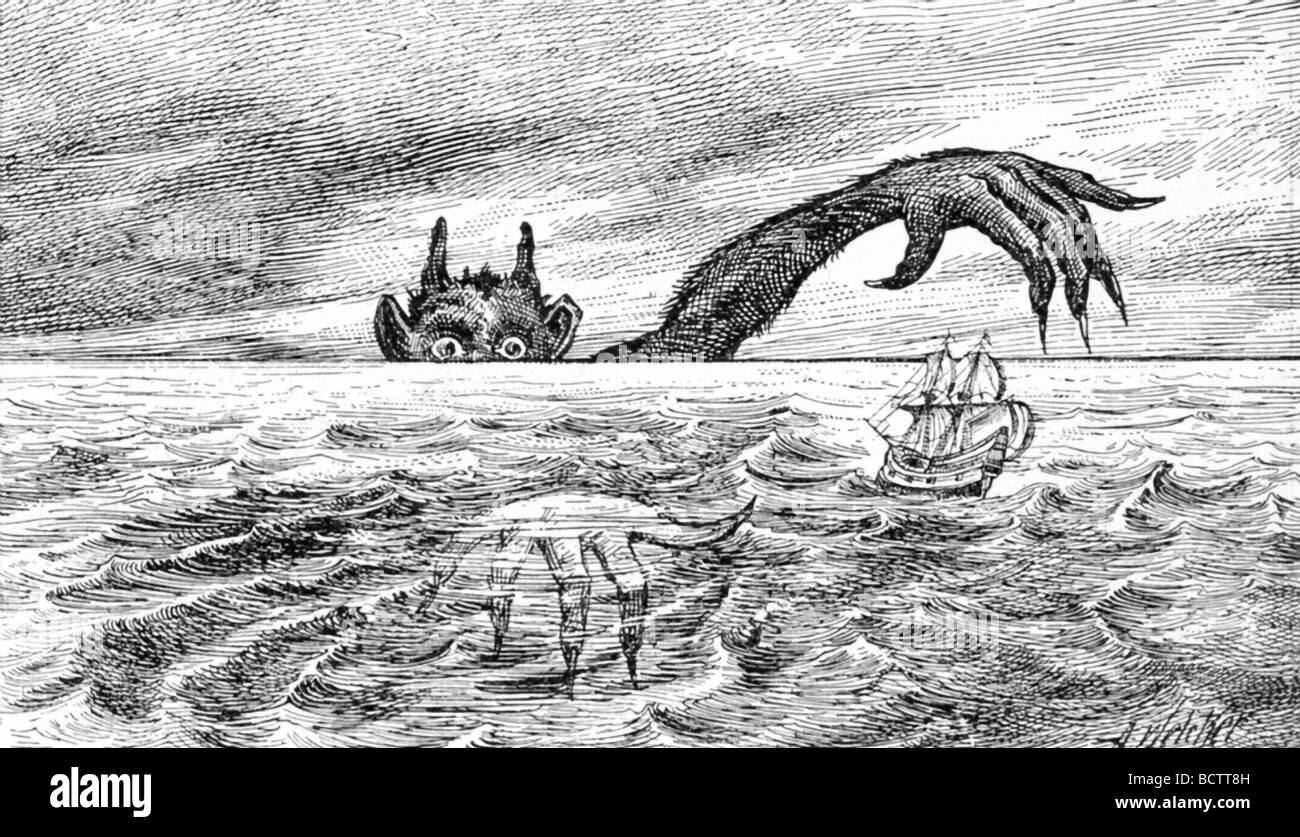 This illustration dates to 1891 and is a fanciful depiction of Satan (also known as the devil ), lurking at the - Stock Image