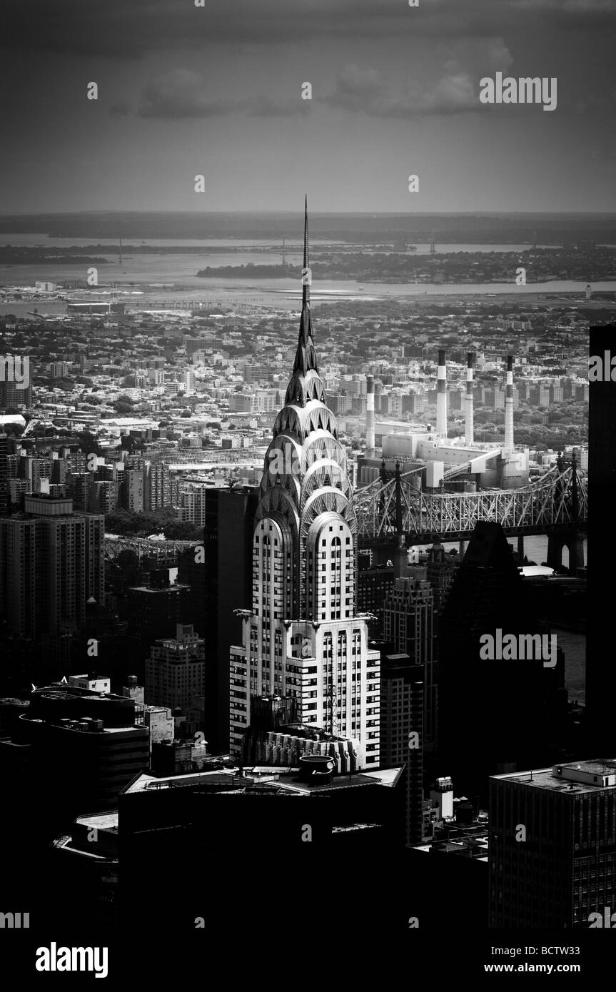 The Chrysler Building seen from the top of the Empire State Building - Stock Image