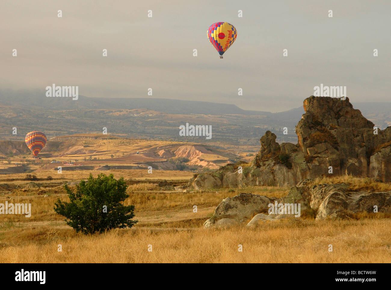 hot air baloon in cappadocia center of Turkey - Stock Image