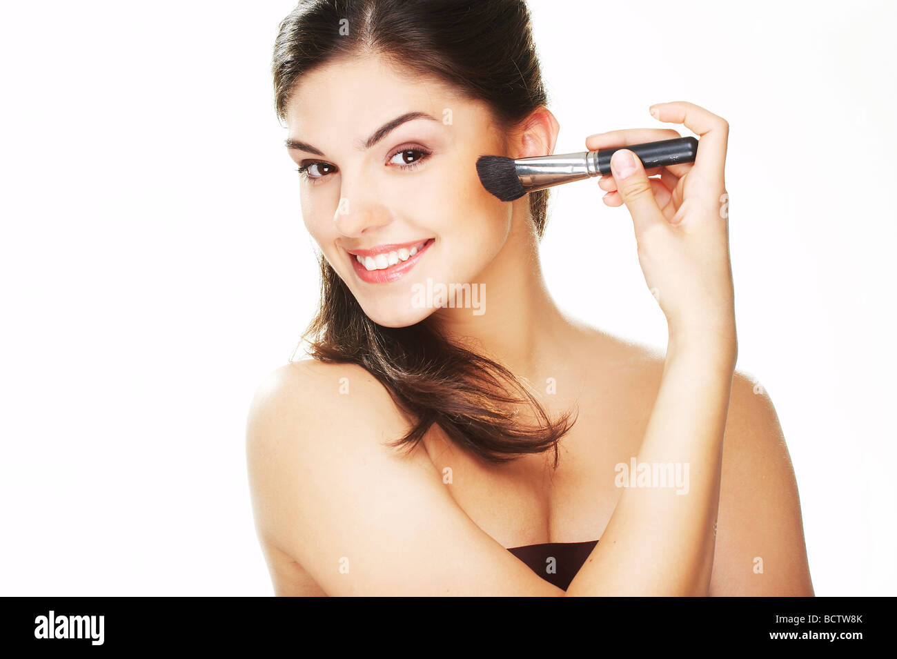 Portrait of Beautiful brunette woman doing daily morning routines  - Stock Image