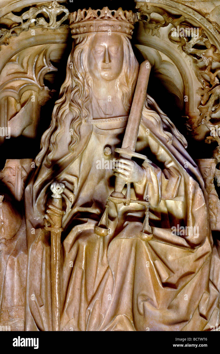 """Spain, St. James Way: Sculpture representing """"Justice"""" as a detail of the royal tomb of King Juan II. and Queen - Stock Image"""