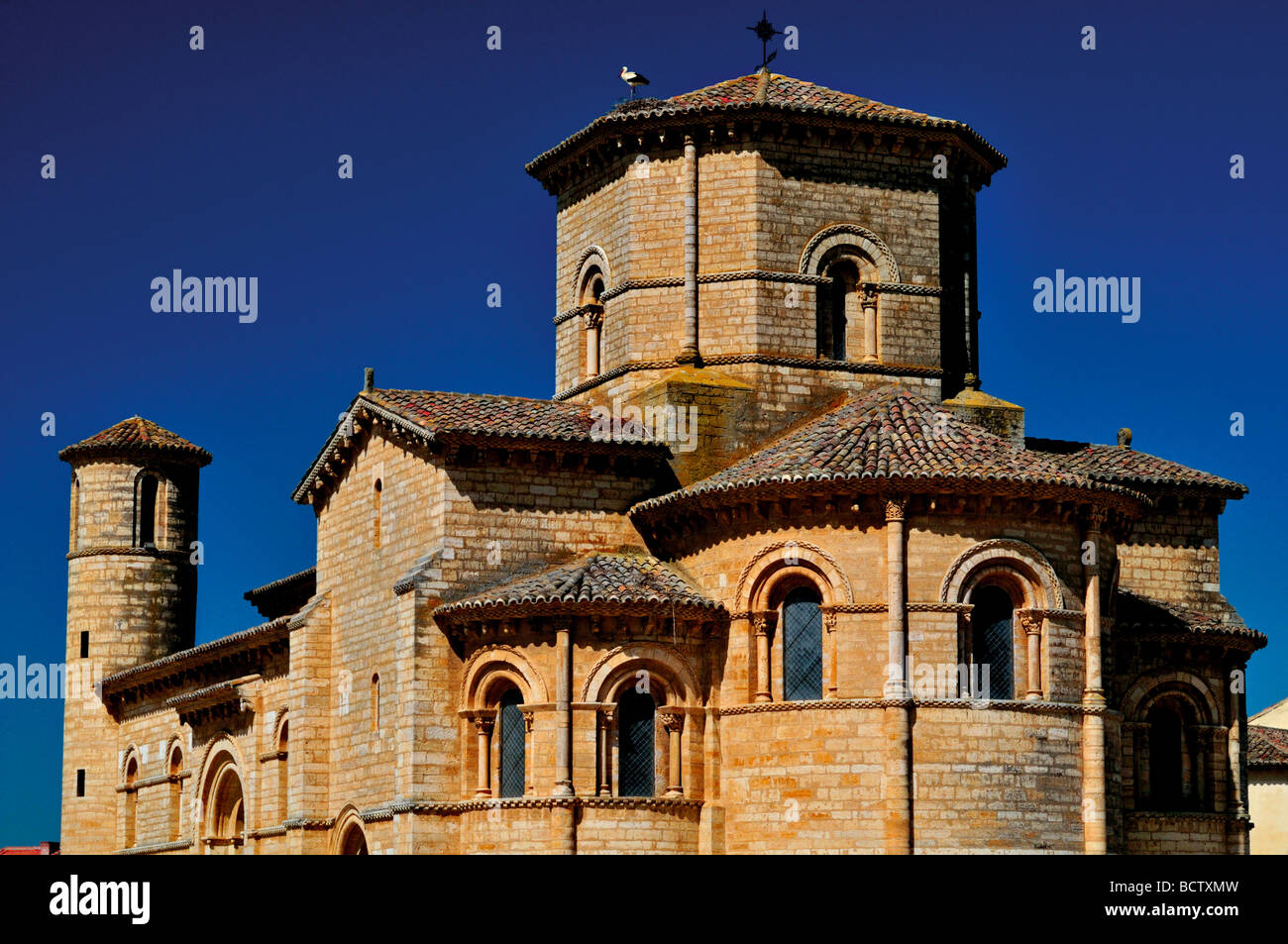 Spain, St. James Way: Romanesque temple of the Iglesia San Martin in Fromista - Stock Image