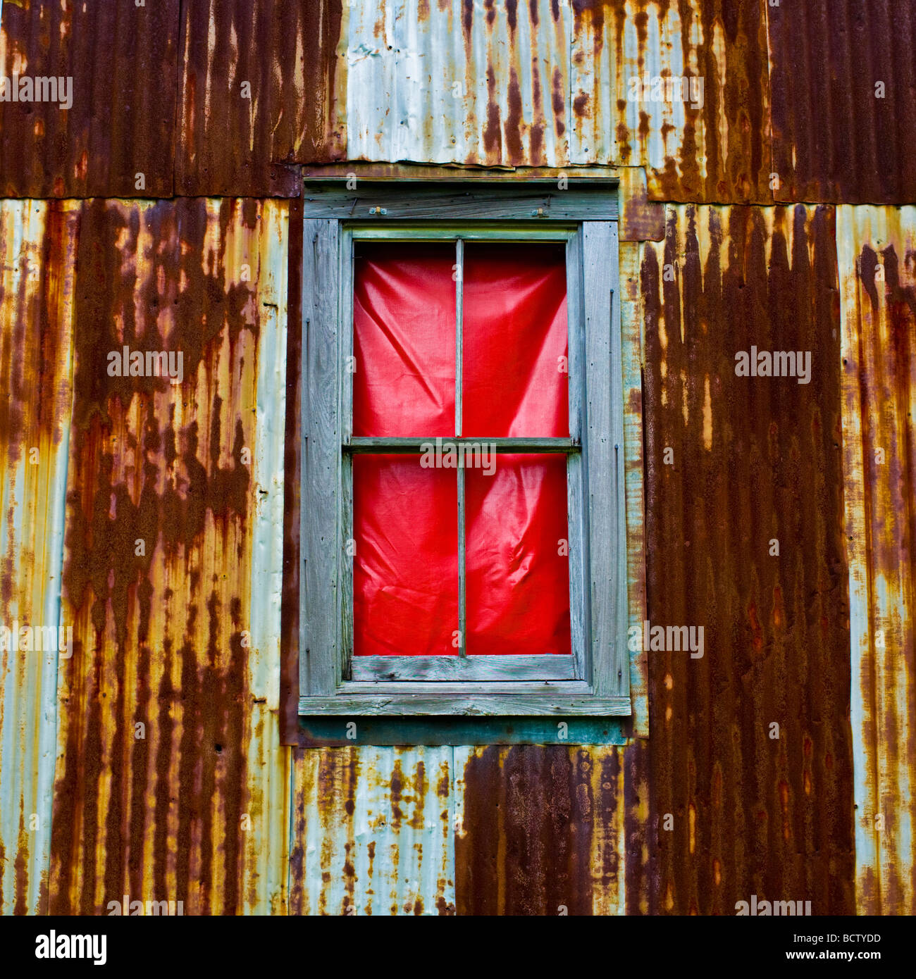 Close-up of a window in a rusty corrugated iron house - Stock Image