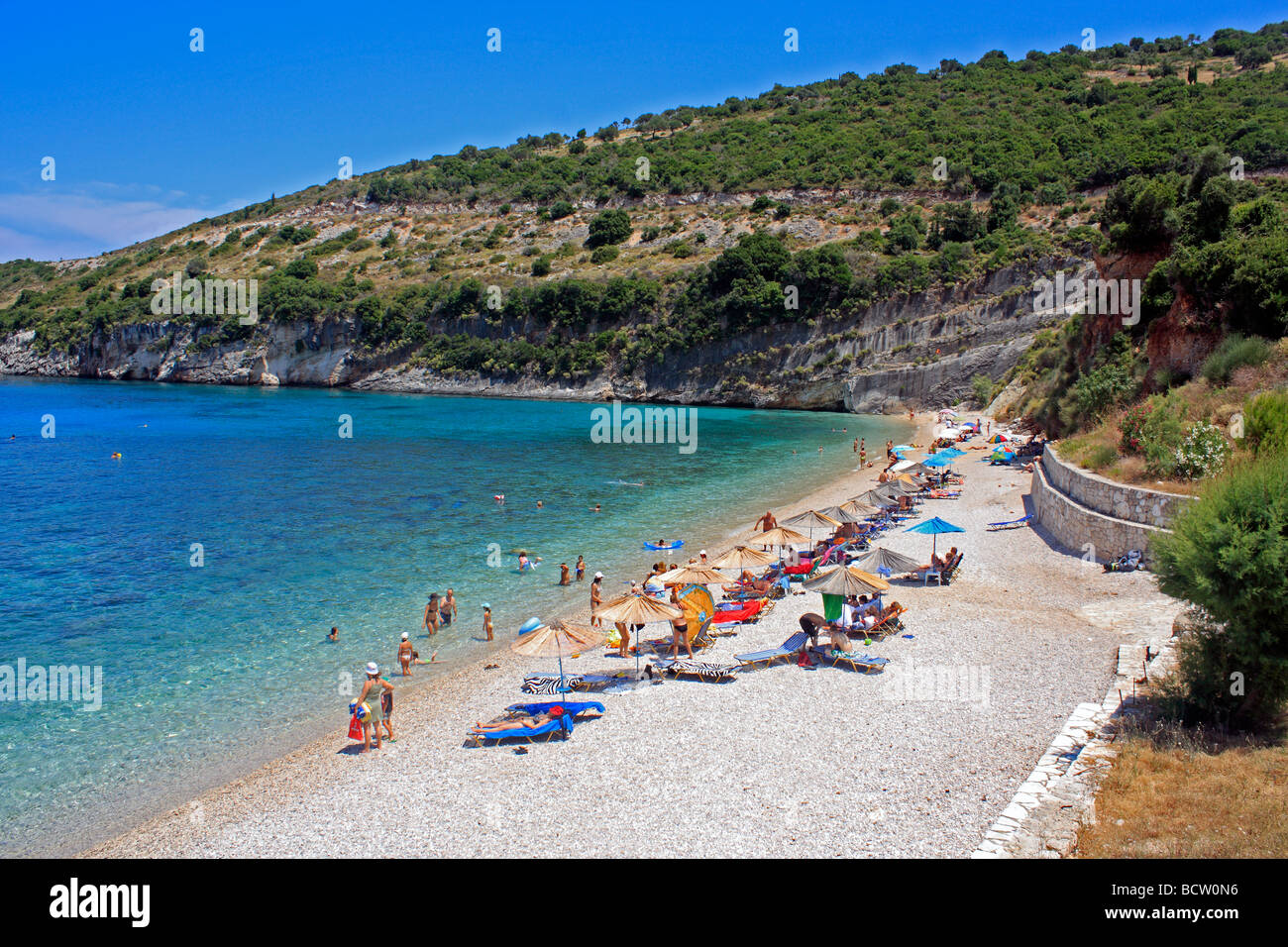 Makris Gialos Beach Zante Zakynthos Ionian Island Greece EU European Union Europe - Stock Image