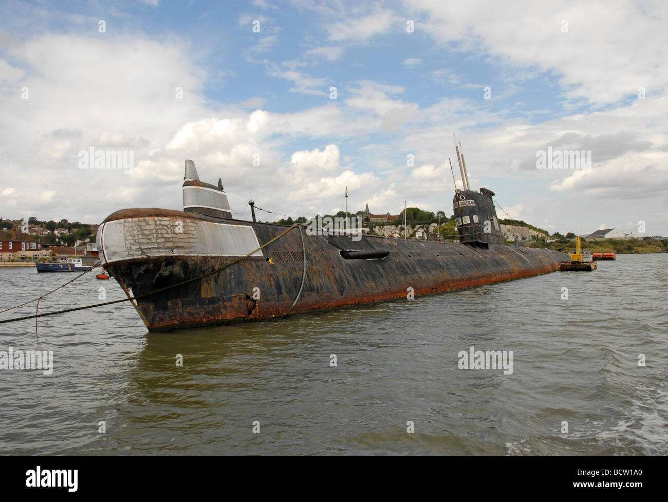 Derelict Russian submarine moored on river Medway, Rochesterr, Kent, England - Stock Image