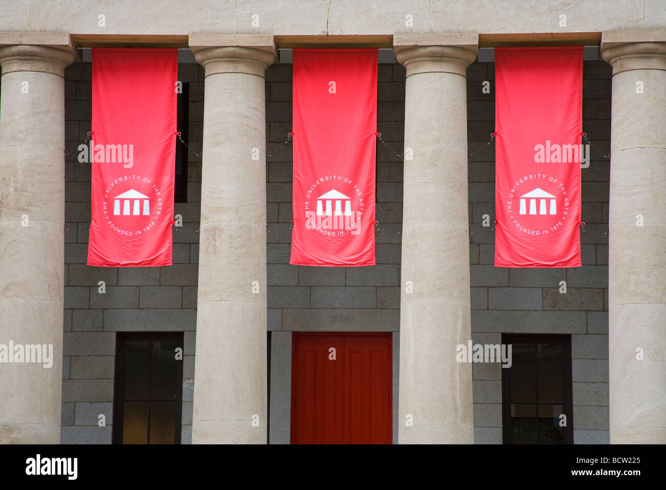 Banners hanging on a building University of the Arts Avenue Of The Arts Center City Broad Street Philadelphia Pennsylvania - Stock Image