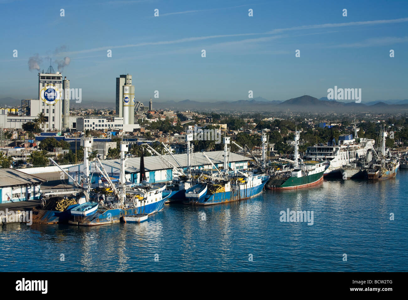 Fishing boats at a dock, Mazatlan, Sinaloa, Mexico - Stock Image
