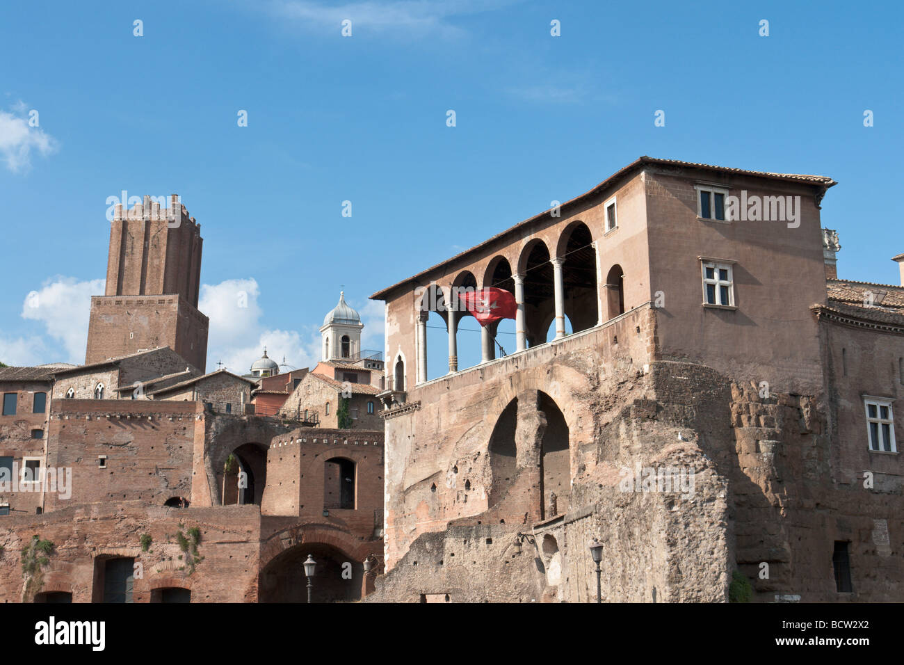Loggia dei cavalieri di Rodi and Torre delle Milizie Stock Photo
