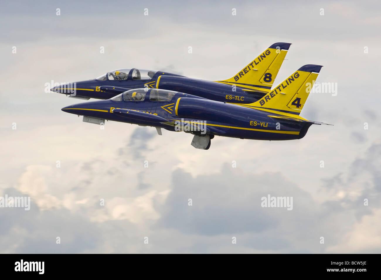 The Aero L39 Albatross s of the Breitling aerobatic team - Stock Image