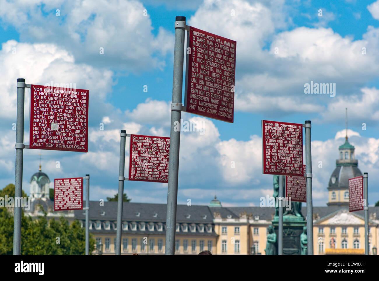 Platz der Grundrechte, Square of the fundamental rights, art work by Jochen Gerz, Karlsruhe, Baden-Wuerttemberg, - Stock Image