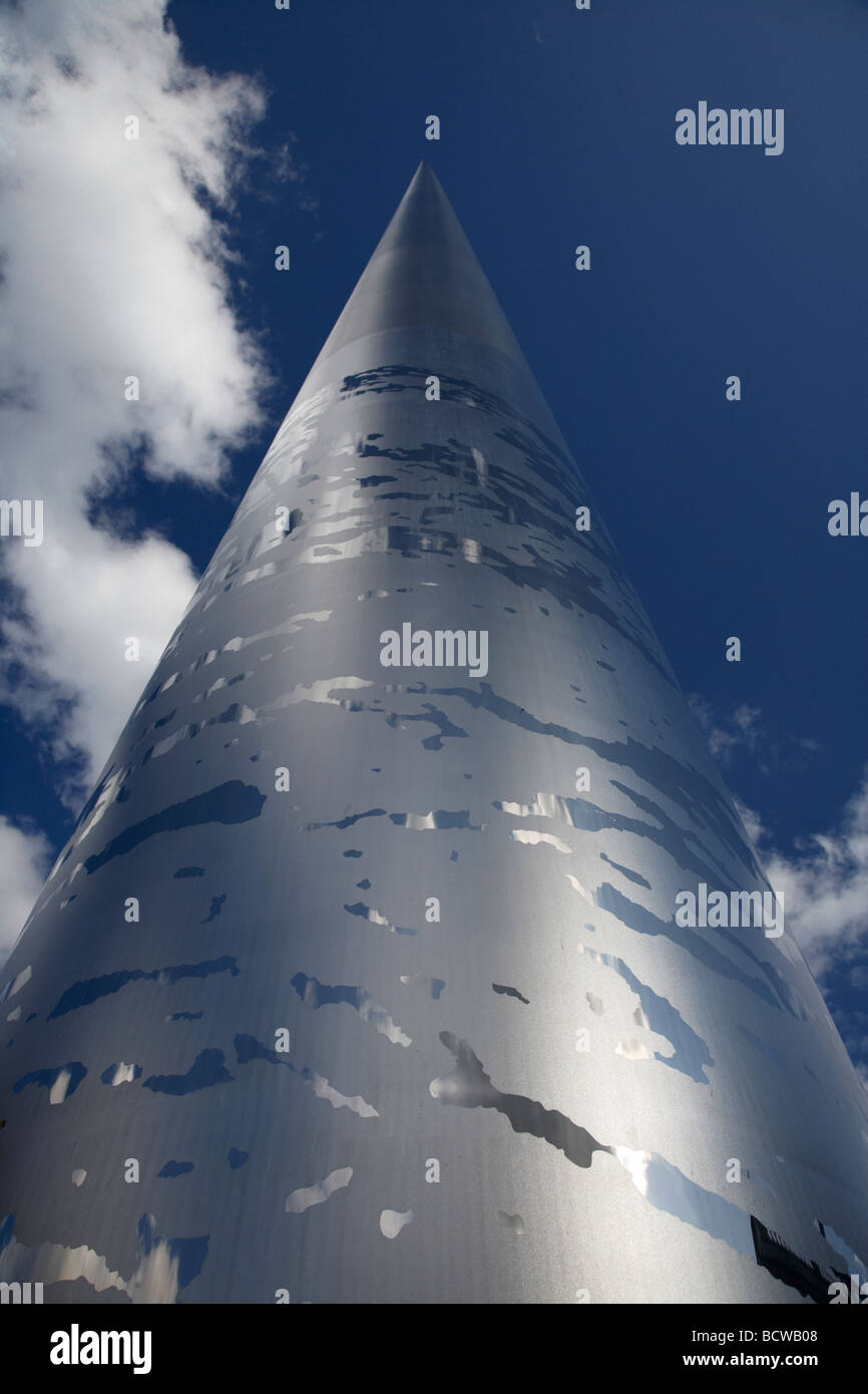 looking up at the spire of dublin monument of light on oconnell street dublin republic of ireland - Stock Image