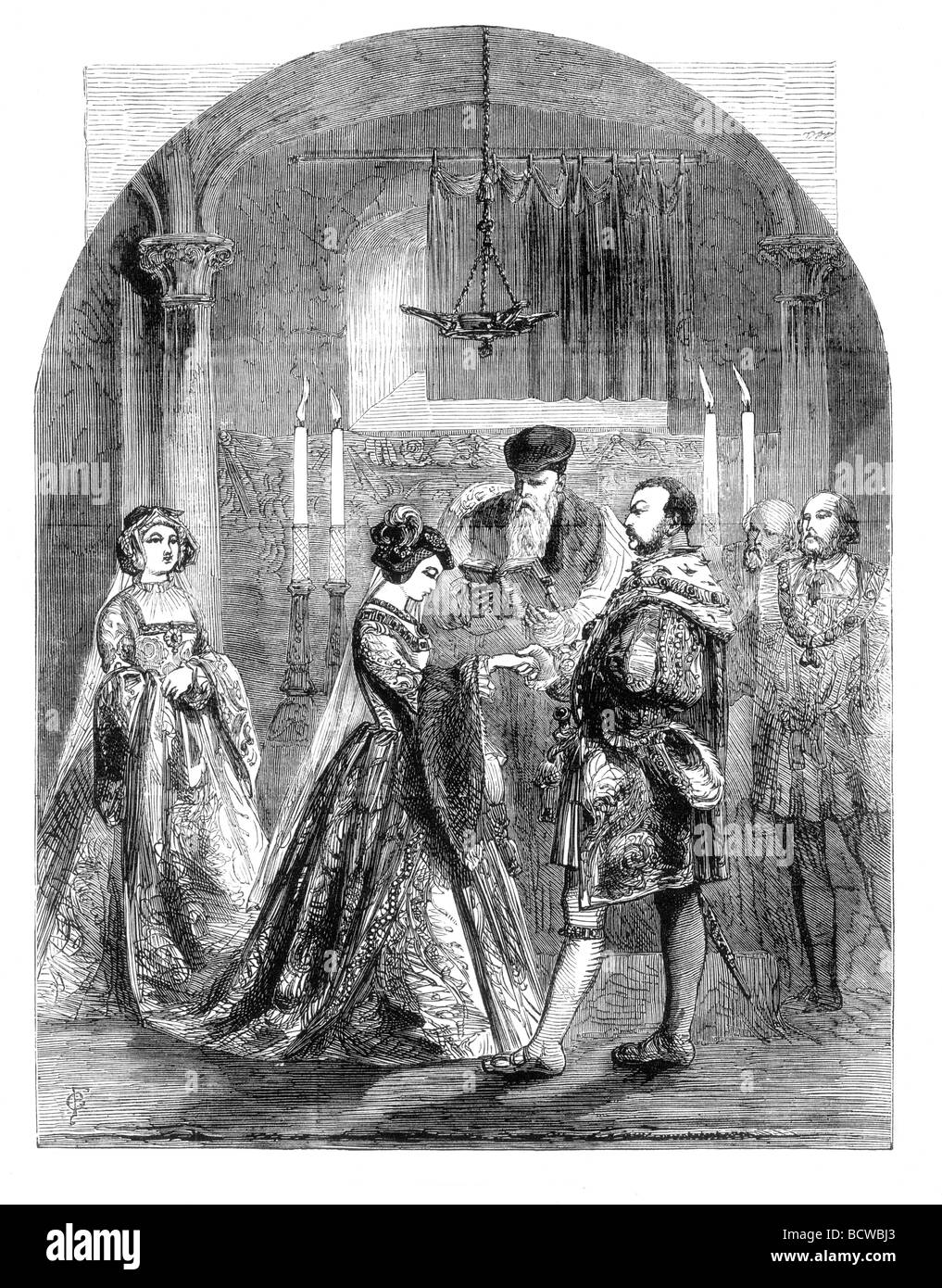 Private Marriage of Anne Bolyn and King Henry VIII of England Stock Photo