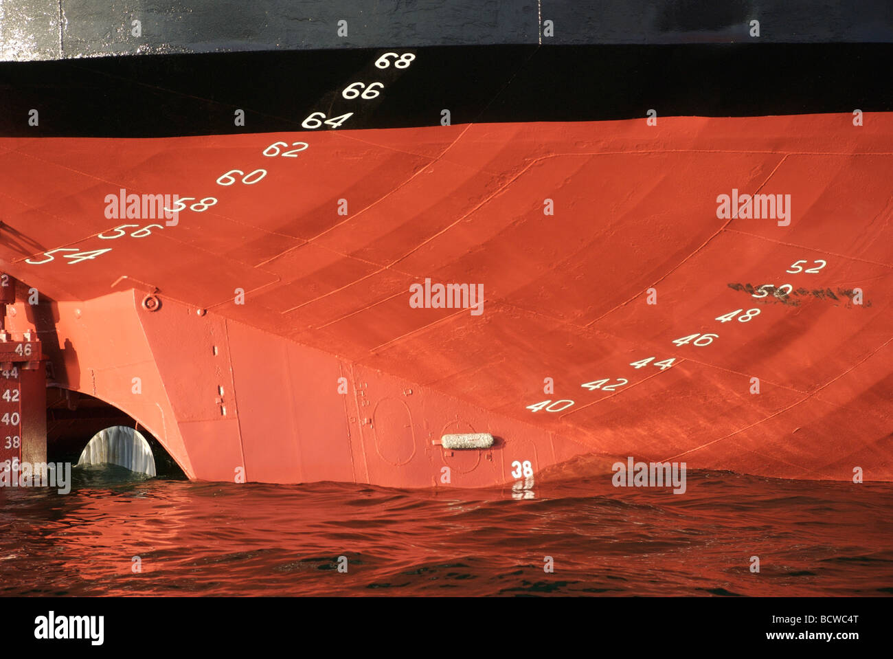 Plimsoll line numbers on the stern of Sand Weaver cargo ship, Falmouth Docks, Cornwall, UK Stock Photo