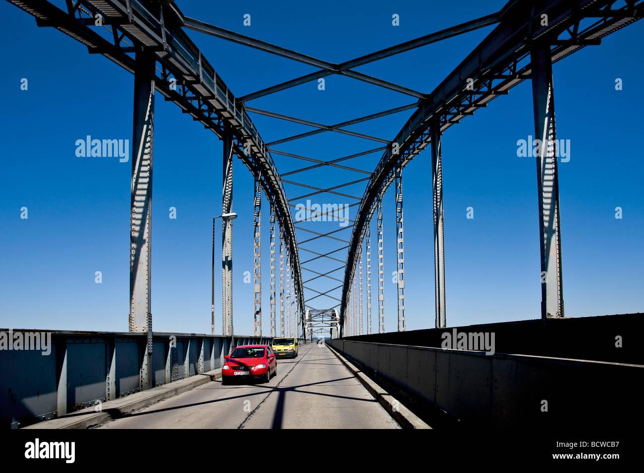 Crossing the Storestrom Bridge between Zealand and Falster in Denmark, Scandinavia, Europe - Stock Image