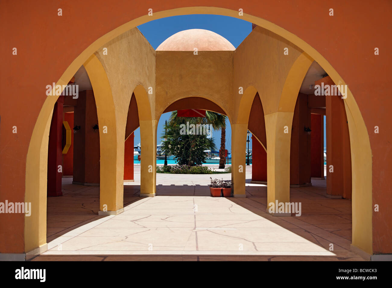 Courtyard, traditional market, Souk, marina, Hurghada, Egypt, Red Sea, Africa Stock Photo