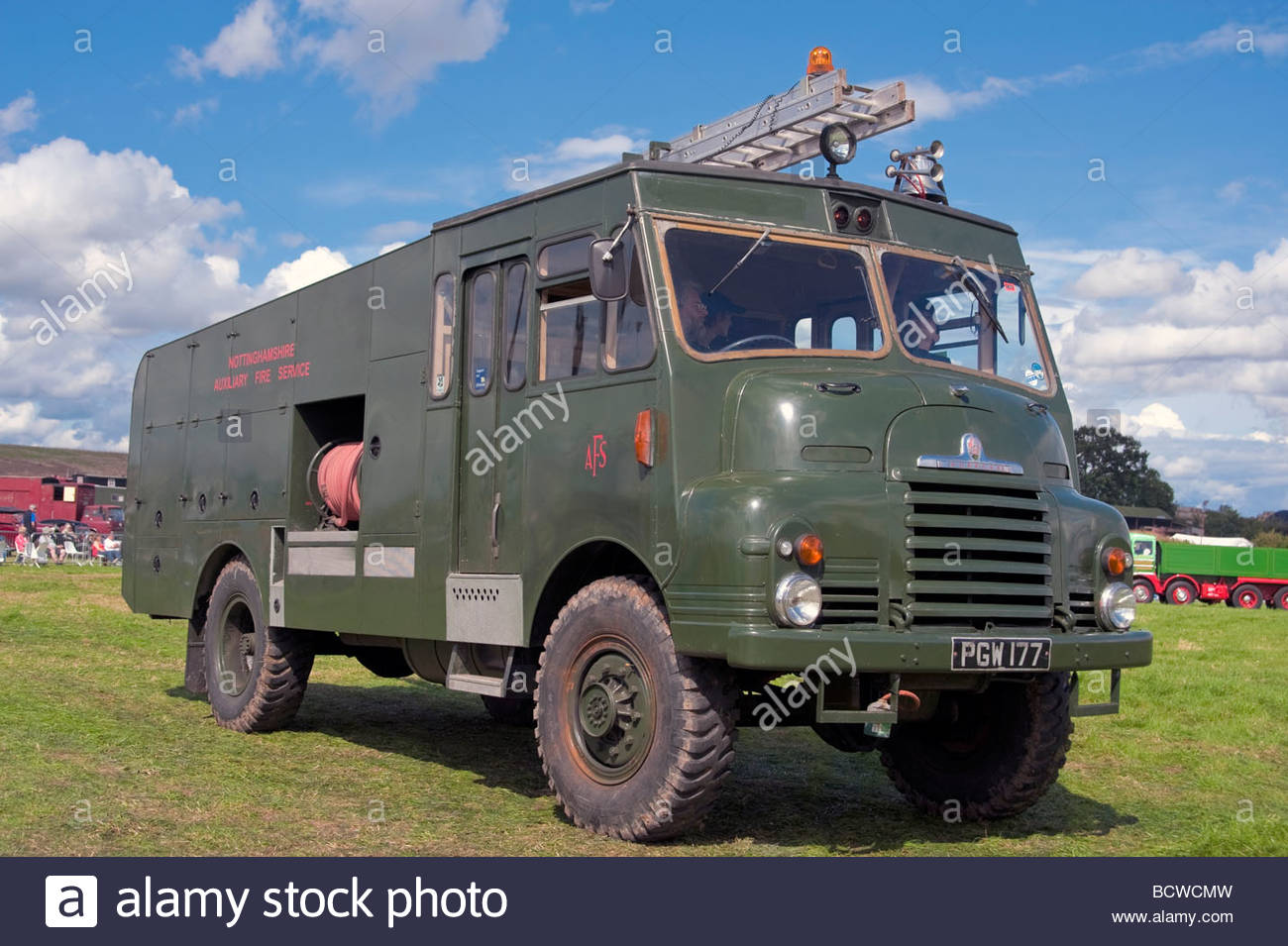 Commercial vehicles at Welland Steam Rally & Show, Worcestershire, UK. Vintage lorry. Bedford green goddess - Stock Image