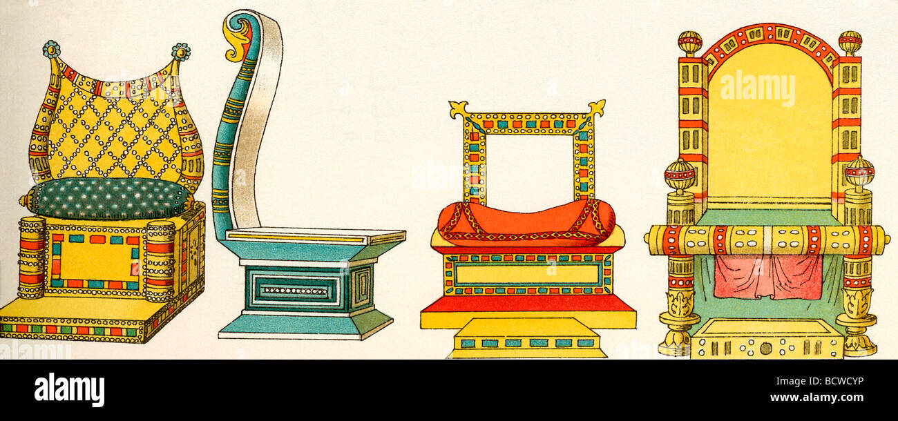Medieval European thrones used by Christian royalty  were of various shapes and sizes, often decorated with colors - Stock Image