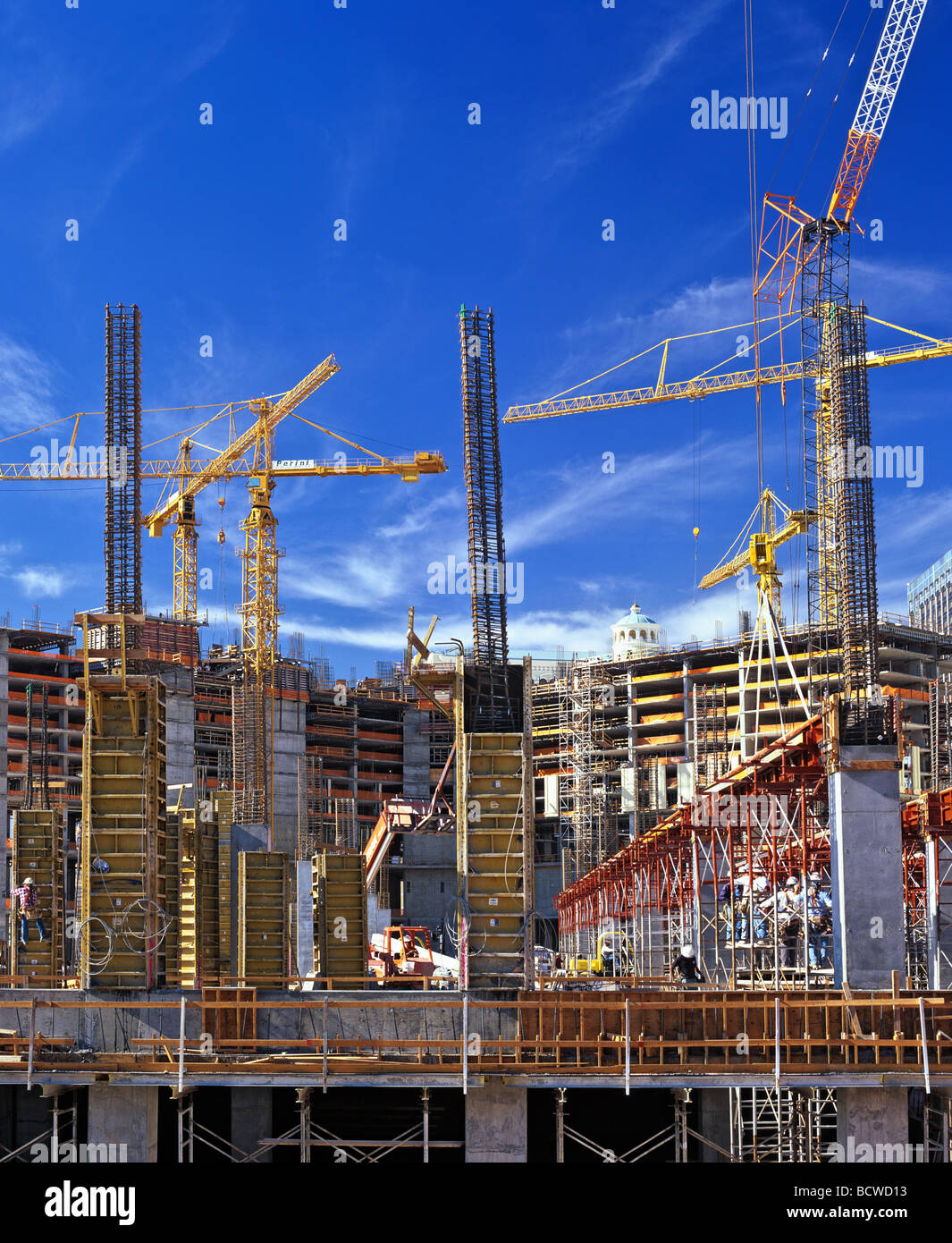 Cranes, large construction site, hotel construction, construction industry, USA - Stock Image