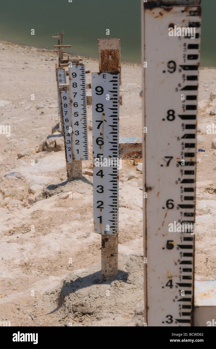 Measuring sticks in Ziglab dam Jordan - Stock Image