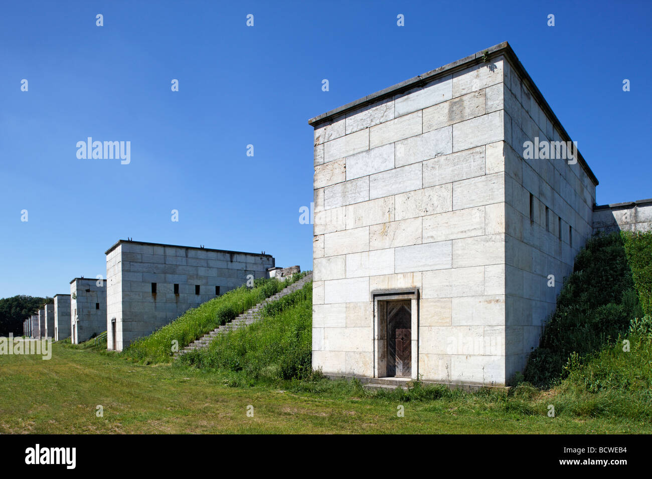 Maerzfeld field, granit towers, parade grounda for the Wehmacht in Third Reich, monumental building, Reichsparteitagsgelaende - Stock Image