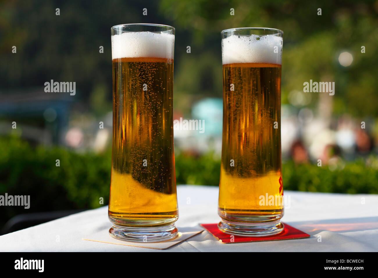 Beer glasses, Strobl, Salzkammergut region, Upper Austria, Austria, Europe Stock Photo