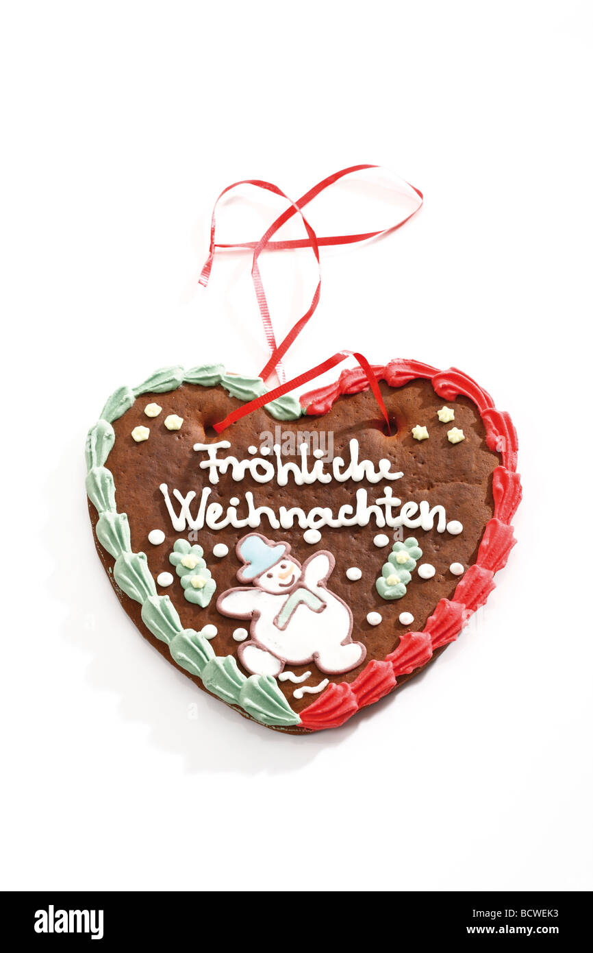 Gingerbread heart, Christmas motif, 'Frohes Fest', Merry Christmas - Stock Image