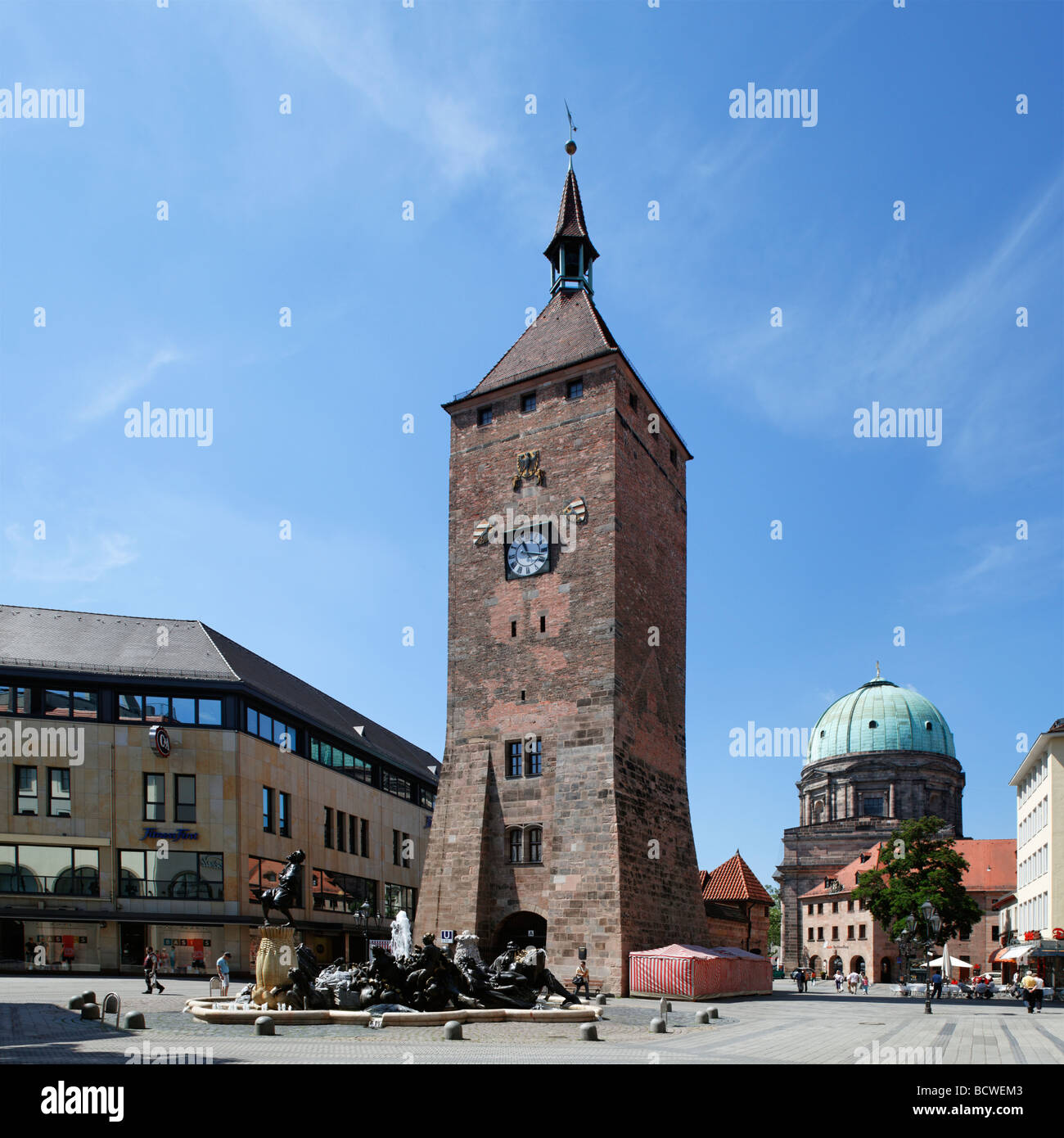 Weisser Turm, White Tower, built ca. 1250, 'Ehekarusell' fountain, Ludwigsplatz square, St. Elisabeth church, - Stock Image