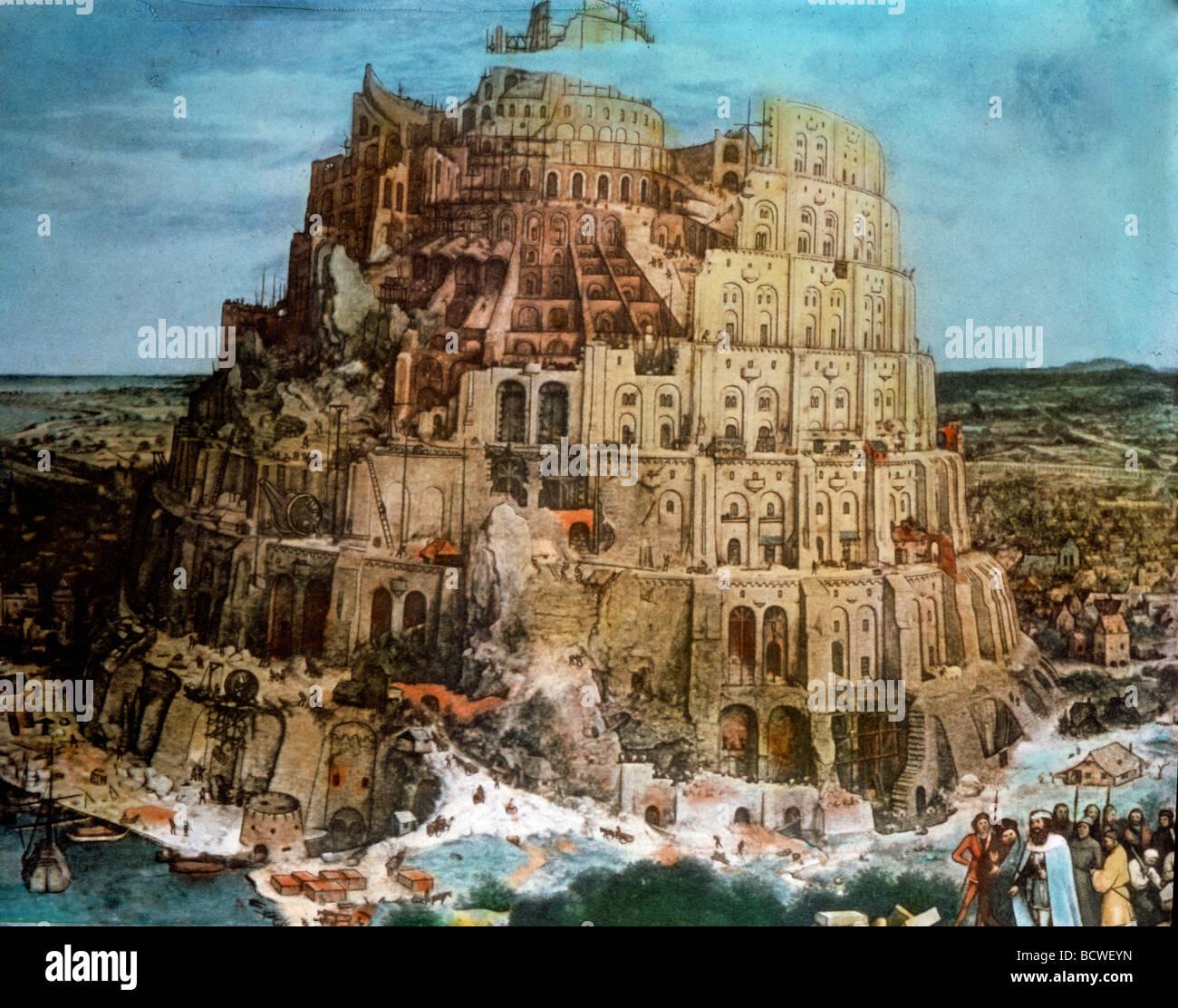 tower  babel  pieter bruegel  elder oil  wood