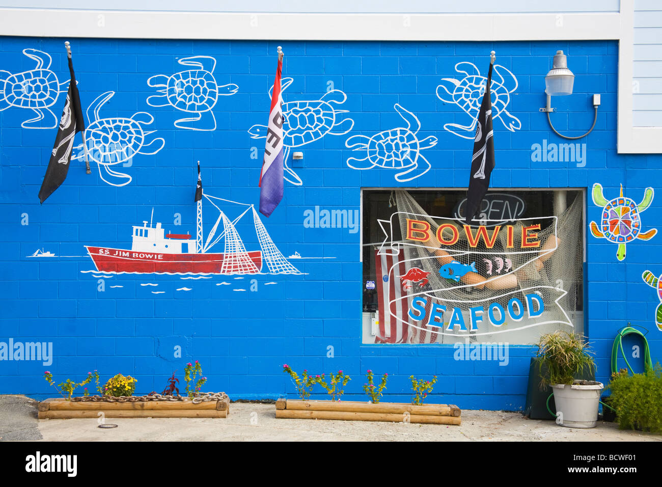 Mural on the wall of a seafood store, Tybee Island, Georgia, USA - Stock Image