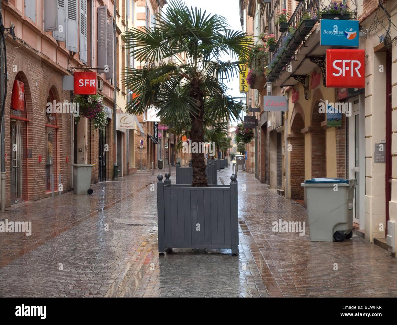Nasser Weg mit Palmen und Läden in Montauban in Frankreich watery way with palms and shops in Montauban in - Stock Image