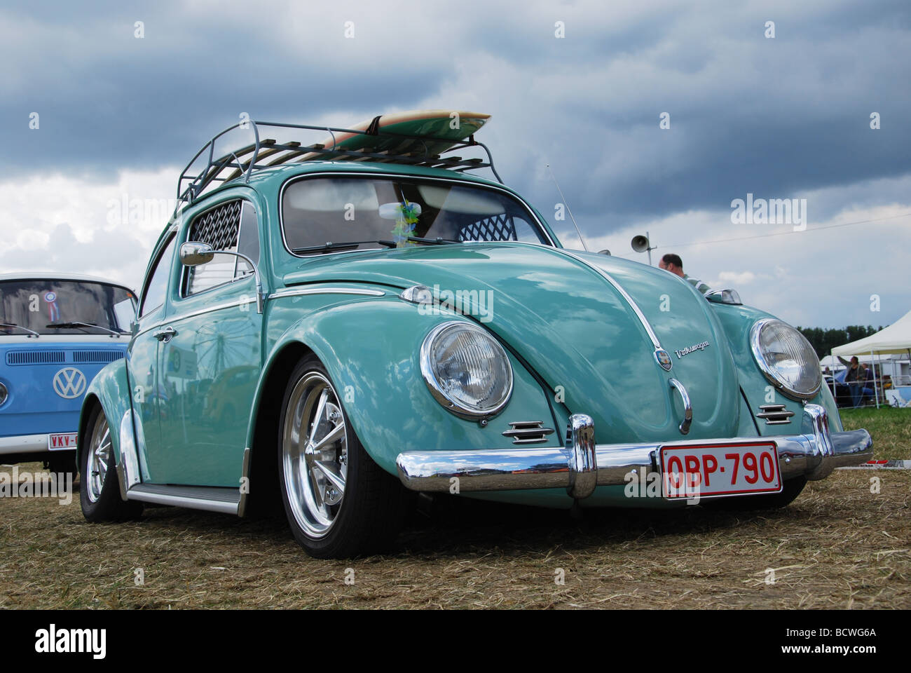 Classic Mint Green Vw Beetle Low Rider Stock Photo