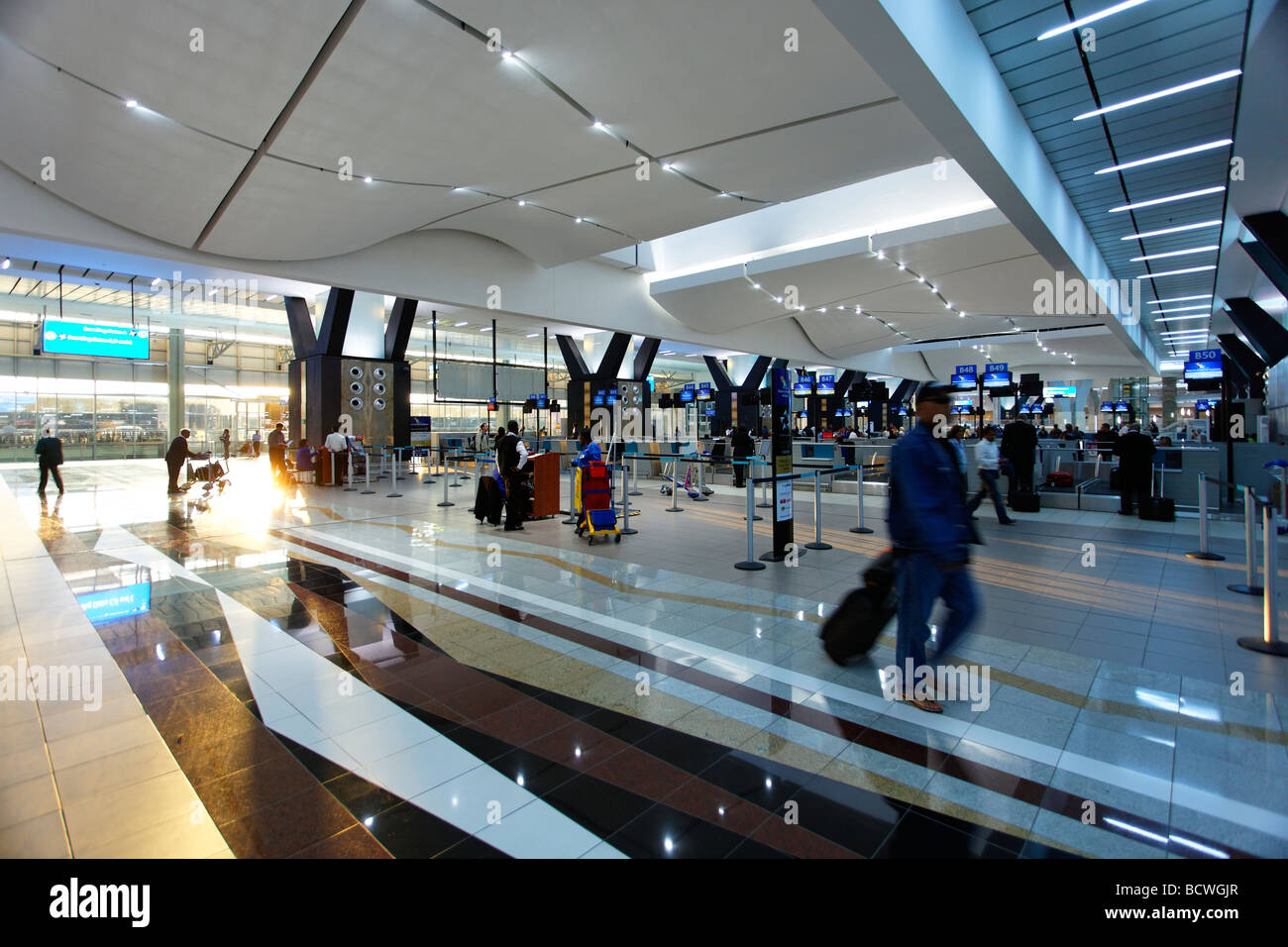 Departure halle, check in, O R Tambo International Airport, Johannesburg, South Africa, Africa - Stock Image