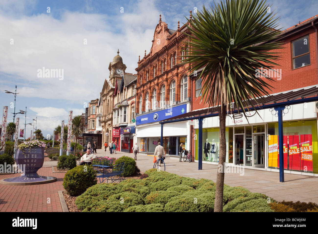 High street in St Annes Square in the town centre of Lytham St Annes Lancashire England UK - Stock Image