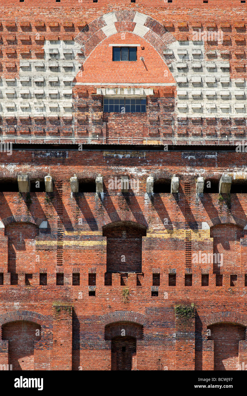 Congress hall, partial view, unrendered, unfinished, monumental building, bricks, Grosser Reichsparteitagsgelaende - Stock Image