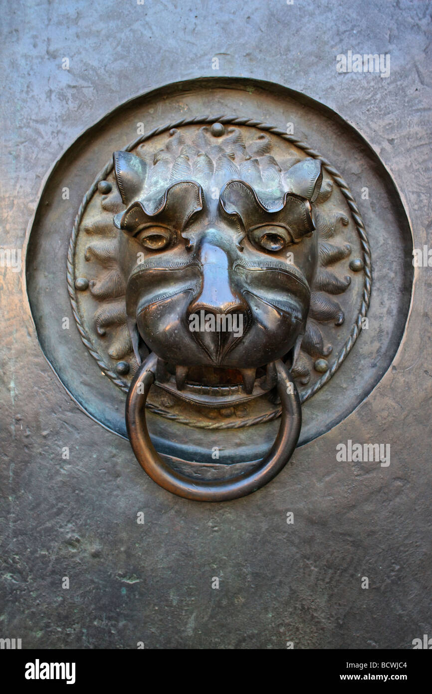 Lions head with ring, door, bronze, Gothic church St. Lorenz, built from 1250 on, old city, Nuremberg, Middle-Franconia, - Stock Image