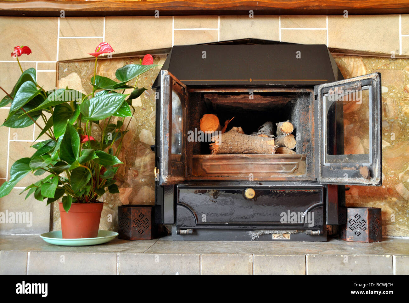 An unlit open doored fire place in a lounge, with a potted plant near it. - Stock Image