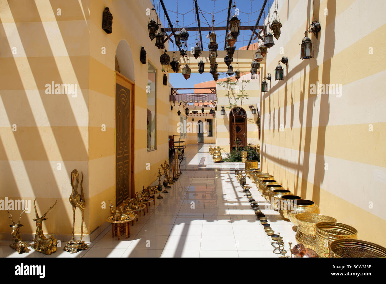 Brazen vessels, arcade, arch, traditional market, souk, Hurghada, Egypt, Red Sea, Africa - Stock Image