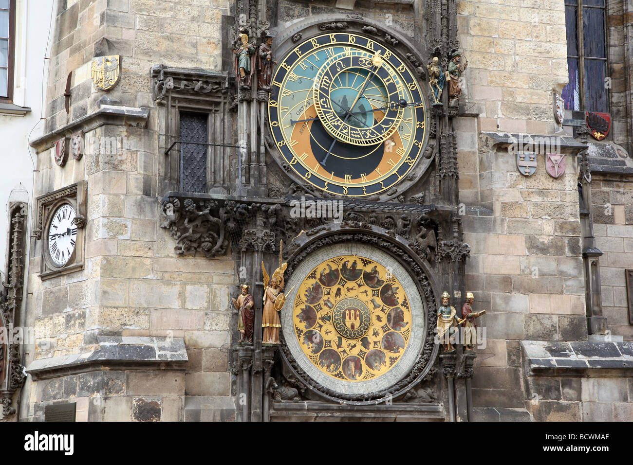 Astronomical Orioj clock in the old town square, Prague. - Stock Image