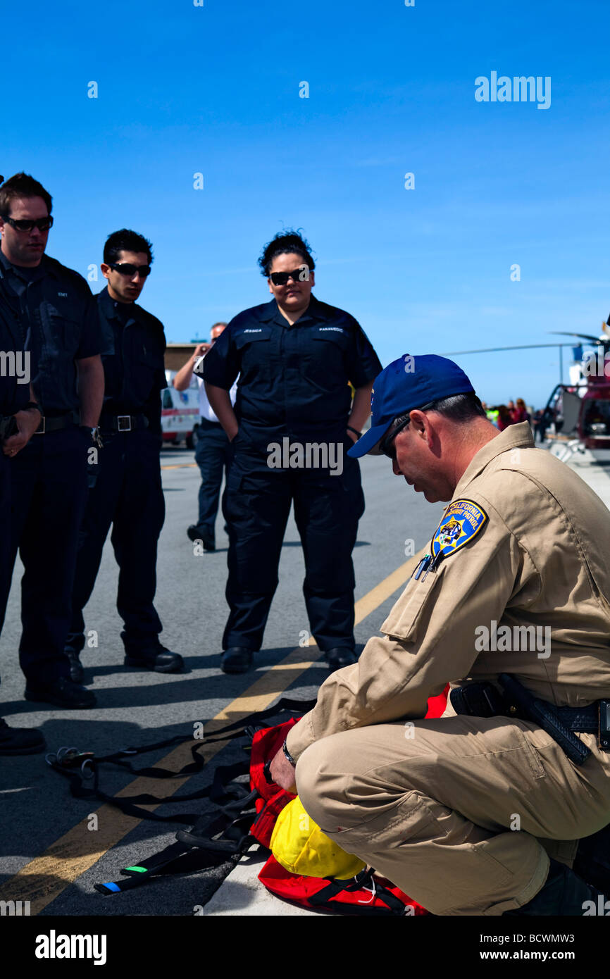 Emergency responder special operations training with CAL FIRE, California Highway Patrol, AMR & EMT - Stock Image