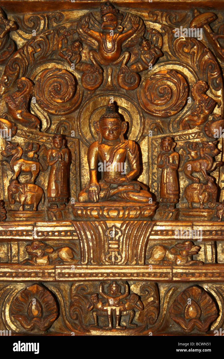 Carved Wooden Buddhism Panel - Stock Image