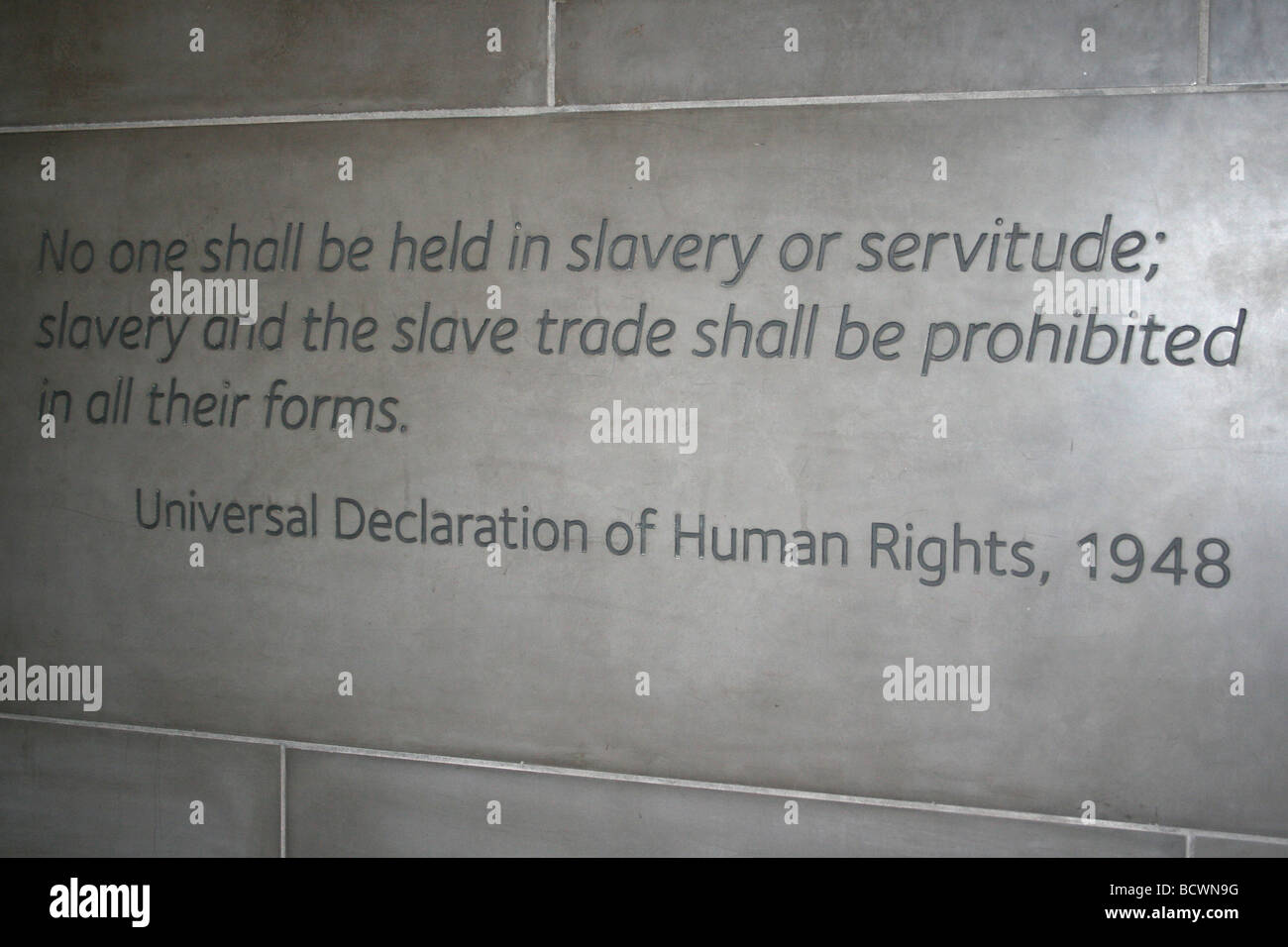 Quotation On The Freedom and Enslavement Wall In The International Slavery Museum, Liverpool, UK - Stock Image